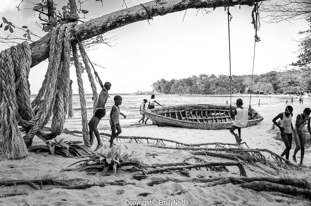 Children playing at Winifred Beach, Jamaica.