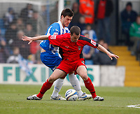 Photo: Richard Lane/Richard Lane Photography. <br /> Colchester United v Coventry City. Coca Cola Championship. 19/04/2008. United's Johnnie Jackson challenges City's Michael Doyle.