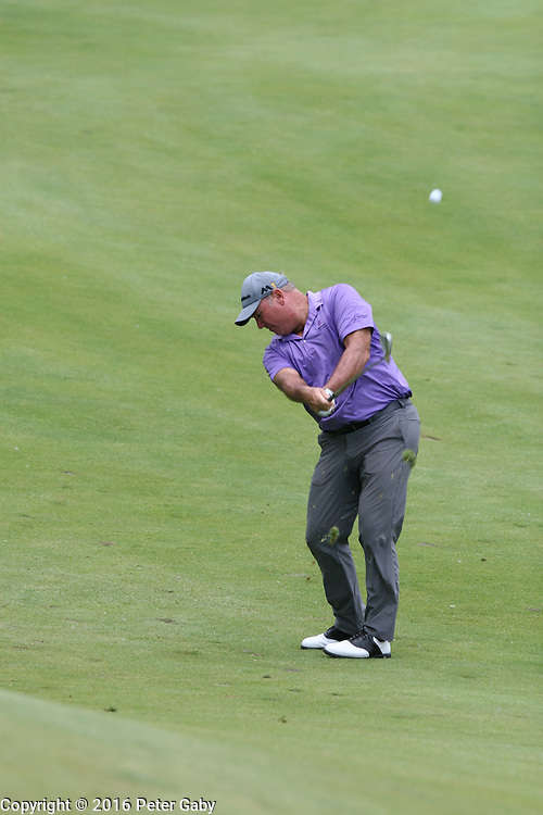 Duffy Waldorf hitting his second shot on the 18th fairway at the 2016 American Family Championship held at University Ridge Golf Course, Madison,  WI. on June 24, 2016.<br /> <br /> <br /> <br /> <br /> <br />  2016 American Family Championship held at University Ridge Golf Course, Madison,  WI. on June 23, 2016.