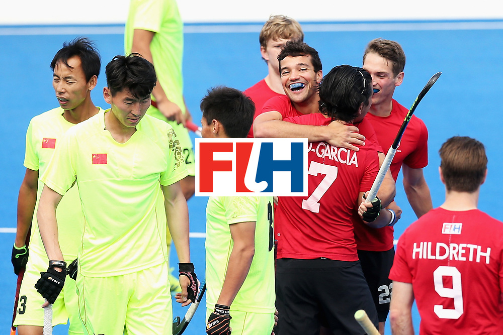 LONDON, ENGLAND - JUNE 24:  Matthew Sarmento of Canada celebrates scoring his sides first goal with his Canada team mates during the 5th-8th place match between Canada and China on day eight of the Hero Hockey World League Semi-Final at Lee Valley Hockey and Tennis Centre on June 24, 2017 in London, England.  (Photo by Alex Morton/Getty Images)