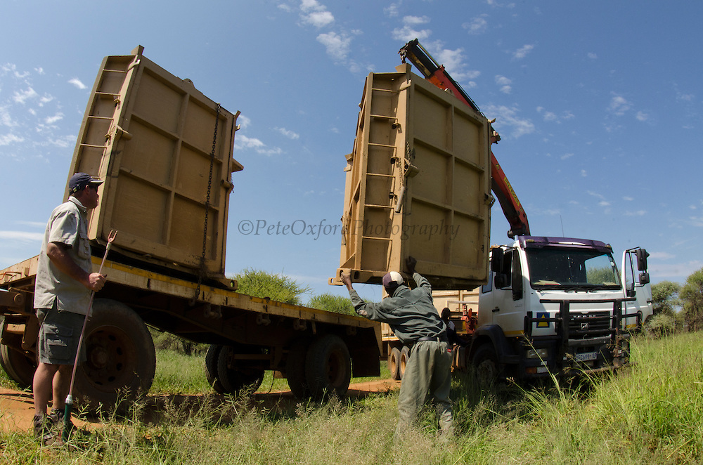 Rhinoceros crates from Conservation Solutions for relocation of animals<br /> Private Game Reserve, Limpopo Province<br /> SOUTH AFRICA