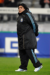 03.03.2010, Allianz Arena Muenchen, Muenchen, GER,  Laenderspiel Deutschland ( GER ) - Argentinien ( ARG ) 0 - 1. Im Bild Diego Armando Maradona ( ARG Headcoach ). EXPA Pictures © 2010, PhotoCredit: EXPA/ nph/  Kurth / for Slovenia SPORTIDA PHOTO AGENCY.