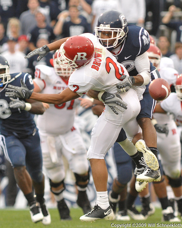 Oct 31, 2009; East Hartford, CT, USA; Connecticut cornerback Robert McClain (42) breaks up a catch attempt by Rutgers wide receiver Tim Brown (2) during second half Big East NCAA football action in Rutgers' 28-24 victory over Connecticut at Rentschler Field.