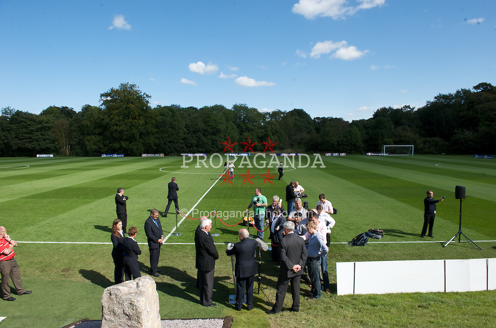 CARDIFF, WALES - Wednesday, September 9, 2009: FIFA President Joseph Sepp Blatter at the opening of the Wales national team training pitch ahead of the FIFA World Cup Qualifying Group 3 match against Russia. (Pic by David Rawcliffe/Propaganda)