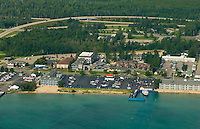 Aerial views of the Mackinaw Straits, Mackinaw City, Bridge,<br /> and St. Ignace tourist destinations.