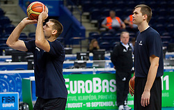 Goran Jagodnik of Slovenia and Uros Slokar of Slovenia during practice session of Slovenian National basketball team at Eurobasket Lithuania 2011, on September 8, 2011, in Siemens Arena, Vilnius, Lithuania. (Photo by Vid Ponikvar / Sportida)