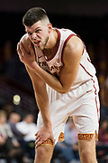 Southern California Trojans forward Nick Rakocevic (31) reacts after a foul against the Pepperdine Waves during an NCAA college basketball game, Tuesday, Nov. 19, 2019, in Los Angeles. USC defeated Pepperdine 91-84. (Jon Endow/Image of Sport)