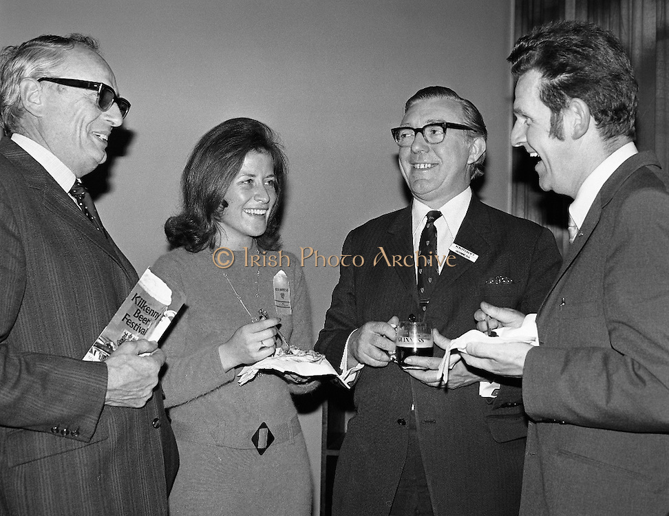 Kilkenny Beer Festival Launch..1972..11.09.1972..09.11.1972..11th September 1972..At the Guinness reception in Dublin plans were announced for this years Kilkenny Beer Festival..Pictured at the announcement were,Mr Michael McGuinness,Secretary,Kilkenny Beer Festival Committee,Ms Angela McCrone and Mr H Roycroft(Guinness) with Mr Sean McManus,Chairman of the festival committee.