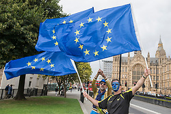 © Licensed to London News Pictures. 07/09/2017. London, UK. Anti-Brexit protesters wave European flags outside the Houses of Parliament  in an attempt to influence MP's decision making on Brexit negotiations.   Photo credit : Stephen Chung/LNP