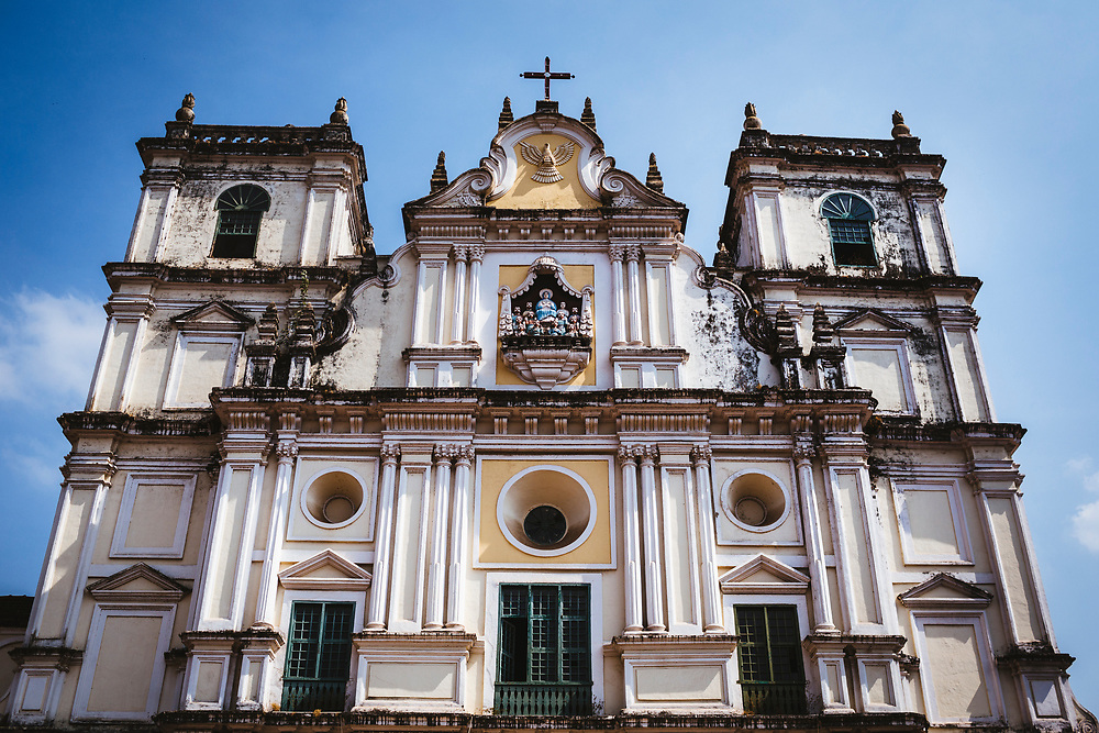 The facade of an old Catholic church in Margao, India.