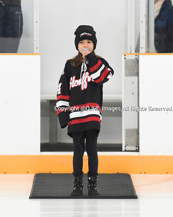 STOUFFVILLE, ON - Oct 12, 2015 : Ontario Junior Hockey League game action between Newmarket and Stouffville, Sydnee Guglietti sings the National Anthem.<br /> (Photo by Andy Corneau / OJHL Images)