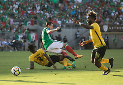 July 23, 2017 - Pasadena, California, U.S - Damion Lowe #3 of Jamaica slides under  Angel Sepulveda #19 of Mexico during their Gold Cup Semifinal game at the Rose Bowl in Pasadena, California on Sunday July 23, 2017. Jamaica defeats Mexico, 1-0. (Credit Image: © Prensa Internacional via ZUMA Wire)