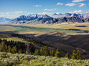 The Lost River Mountain Range with Idahos highest Peak Mount Borah at 12662 feet and 3859 meters in Central Idaho near the town of Mackay