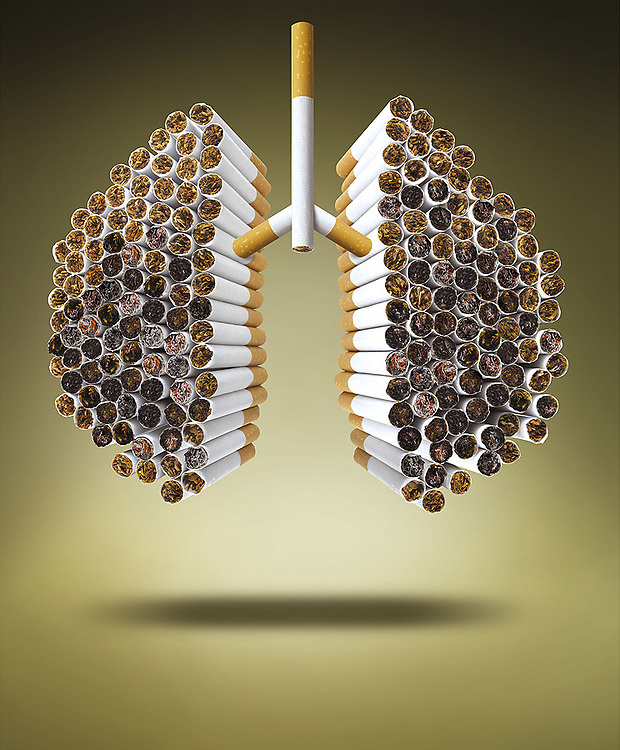 burning cigarttes forming a lung