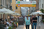 Europe, Slovakia, capitol city - Bratislava bustles with diners, shoppers, and locals along the pedestrian streets of Venturska and Michalska.