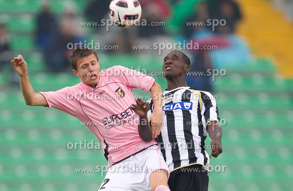 Josip Ilicic of Palermo vs Valencia Cristian Eduardo Zapata of Udinese during football match between Udinese Calcio and Palermo in 8th Round of Italian Seria A league, on October 24, 2010 at Stadium Friuli, Udine, Italy.  Udinese defeated Palermo 2 - 1. (Photo By Vid Ponikvar / Sportida.com)
