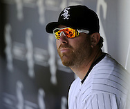 CHICAGO - JUNE 12:  Adam Dunn #32 of the Chicago White Sox looks on after hitting a three-run home run off of Guillermo Moscoso #52 of the Oakland Athletics in the fourth inning on June 12, 2011 at U.S. Cellular Field in Chicago, Illinois.  The White Sox defeated the Athletics 5-4.  (Photo by Ron Vesely)   Subject:  Guillermo Moscoso;Adam Dunn