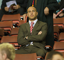 LIVERPOOL, ENGLAND - Tuesday, September 23, 2008: Liverpool's goalkeeper Pepe Reina watches from the director's box as Liverpool take on Crewe Alexandra during the League Cup 3rd round match at Anfield. (Photo by David Rawcliffe/Propaganda)
