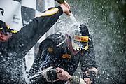 #33 James Sofronas celebrates after winning the Lamborghini Super Trofeo round 5 race.