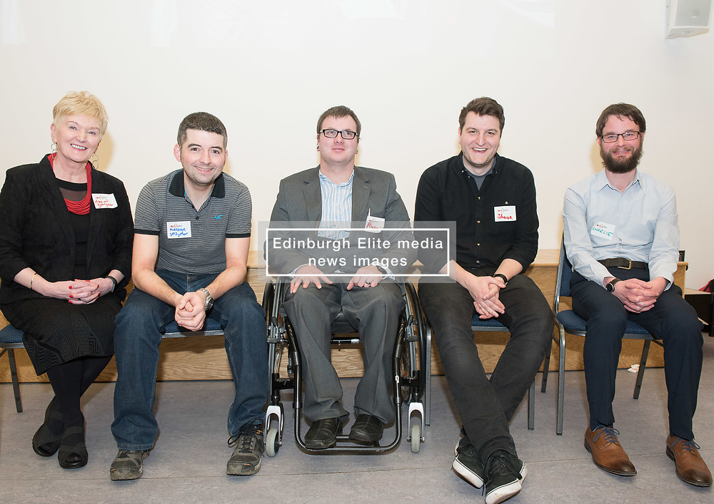 "A short film about the challenges faced by disabled people when trying to access public transport will screen as part of film showings at Edinburgh cinemas during Disabled Access Day this weekend (10-12 March). <br /> The short film has been launched by Edinburgh based charity get2gether, who work with almost 500 disabled adults in Edinburgh and the Lothians by organising social events and encouraging members to take initiative. <br /> The film, ""Buggy Off"", was created by get2gether Member and Ambassador Karen Sutherland with the support of Media Education and is based on one of Karen's many personal experiences. The film was launched at the Grassmarket Community Project in Edinburgh on Wednesday 8 March before screening ahead of films at the Cameo and Filmhouse over the weekend. Pictured: Panel for post-film discussion Marion Smith, CEO, get2gether, Alasdair McLean, get2gether Board member, Ryan Johnston acting on behalf of his partner and film-maker Karen Sutherland (Karen was rushed into hospital the night before the screening), Shaun Glowa, Media Education, who worked with Karen on making the film, Charlie Fairley, Big Lottery Fund, one of get2gether's main funders.<br /> <br /> <br /> © Jon Davey/ EEm"