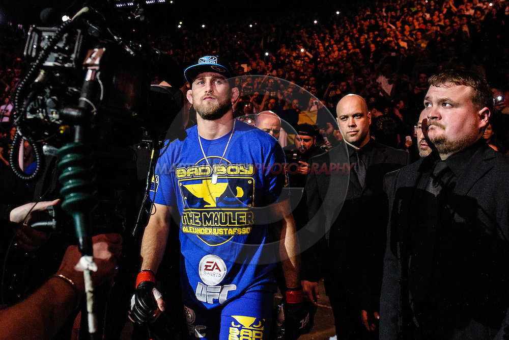 "LONDON, ENGLAND, MARCH 8, 2014: Alexander Gustafsson enters the arena during ""UFC Fight Night: Gustafsson vs. Manuwa"" inside the O2 Arena in Greenwich, London on Saturday, March 8, 2014 (© Martin McNeil)"