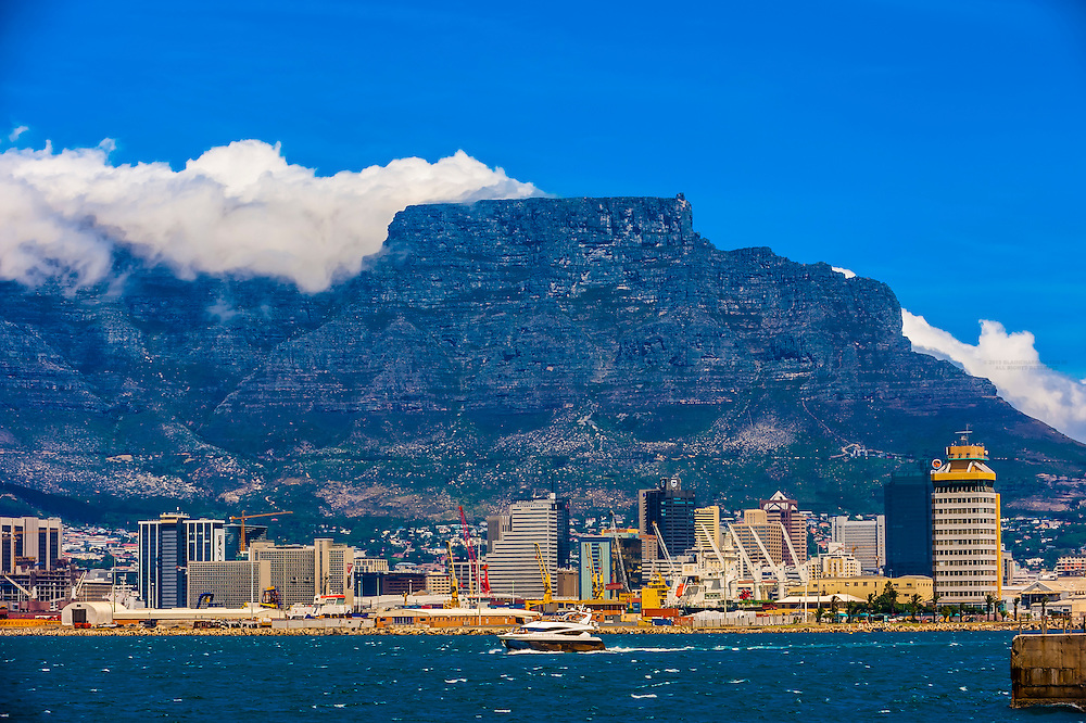 Table Bay Harbor with Central Business District and Table Mountain behind, Cape Town, South Africa.