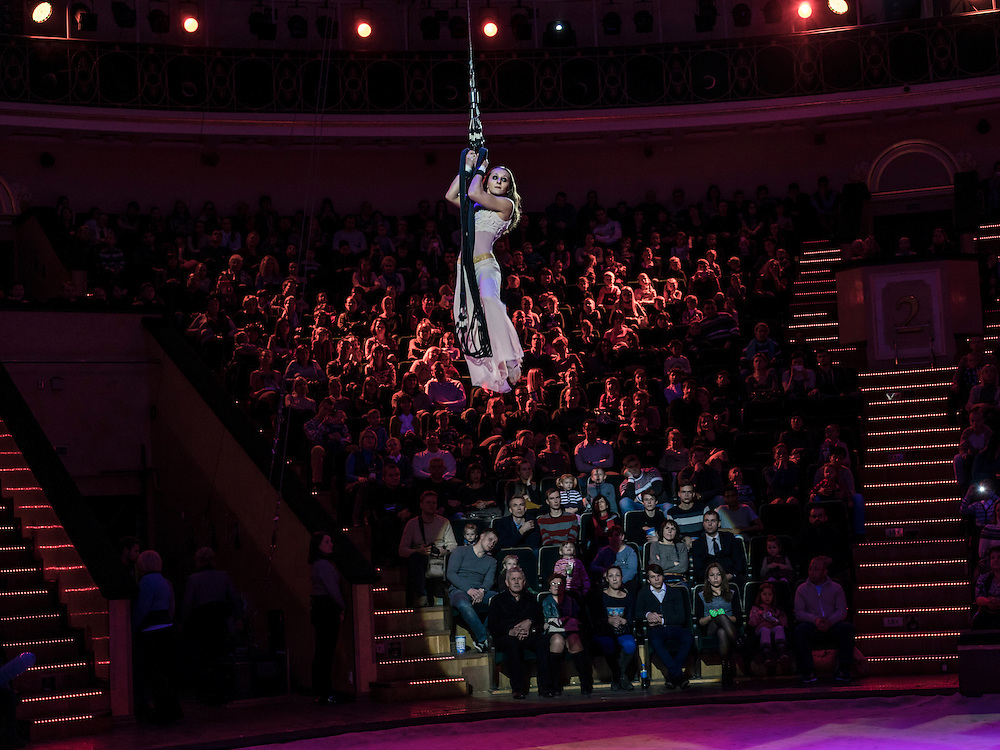 "A performer at the Belarus State Circus during a show called ""Africa!?!"" on Wednesday, November 25, 2015 in Minsk, Belarus."