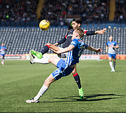 Dundee&rsquo;s Faissal El Bakhtaoui and Kilmarnock&rsquo;s Luke Hendrie - Kilmarnock v Dundee in the Ladbrokes Scottish Premiership at Rugby Park, Kilmarnock, Photo: David Young<br /> <br />  - &copy; David Young - www.davidyoungphoto.co.uk - email: davidyoungphoto@gmail.com