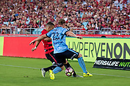 February 18, 2017:  Western Sydney Wanderers Jaushua SOTIRIO (16) and Sydney FC defender Rhyan GRANT (23) battle for the ball at Round 20 of the 2016 Hyundai A-League match, between Western Sydney Wanderers and Sydney FC, played at ANZ Stadium in Sydney.