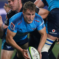 Andre Warner of the Vodacom Bulls tackled by Etienne Oosthuizen of the Cell C Sharks during the Vodacom Super Rugby match between the Cell C Sharks and the Vodacom Bulls at Growthpoint Kings Park in Durban, South Africa. 30th June 2017(Photo by AL NICOLL -Steve Haag Sports)<br /> <br /> images for social media must have consent and Credit Steve Haag