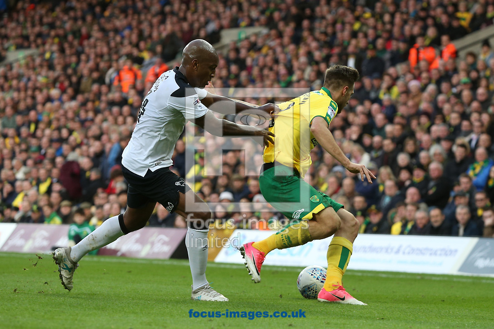Andre Wisdom of Derby County and Marco Stiepermann of Norwich in action during the Sky Bet Championship match at Carrow Road, Norwich<br /> Picture by Paul Chesterton/Focus Images Ltd +44 7904 640267<br /> 28/10/2017