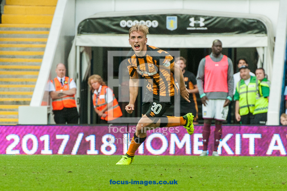 Jarrod Bowen of Hull City celebrates after scoring his sides first goal during the Sky Bet Championship match at Villa Park, Birmingham<br /> Picture by Matt Wilkinson/Focus Images Ltd 07814 960751<br /> 05/08/2017