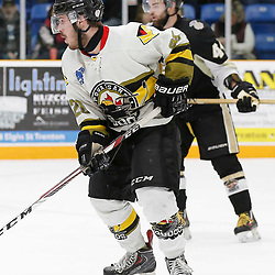 "TRENTON, ON  - MAY 2,  2017: Canadian Junior Hockey League, Central Canadian Jr. ""A"" Championship. The Dudley Hewitt Cup. Game 2 between Powassan Voodoos and Trenton Golden Hawks.  Gabriel Rheault #28 of the Powassan Voodoos during the second period <br /> (Photo by Amy Deroche / OJHL Images)"