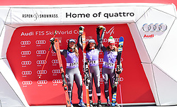 19.03.2017, Aspen, USA, FIS Weltcup Ski Alpin, Finale 2017, Riesenslalom, Damen, Siegerehrung, im Bild Sofia Goggia (ITA, 2. Platz), Federica Brignone (ITA, 1. Platz), Marta Bassino (ITA, 3. Platz) // second placed Sofia Goggia of Italy, race winner Federica Brignone of Italy, third placed Marta Bassino of Italy during the winner presentation for the ladie's Giantslalom of 2017 FIS ski alpine world cup finals. Aspen, United Staates on 2017/03/19. EXPA Pictures © 2017, PhotoCredit: EXPA/ Erich Spiess