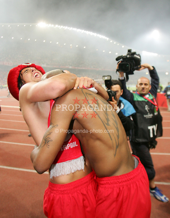 ISTANBUL, TURKEY - WEDNESDAY, MAY 25th, 2005: Liverpool's Milan Baros celebrates with Djibril Cisse after beating AC Milan on penalties during the UEFA Champions League Final at the Ataturk Olympic Stadium, Istanbul. (Pic by David Rawcliffe/Propaganda)