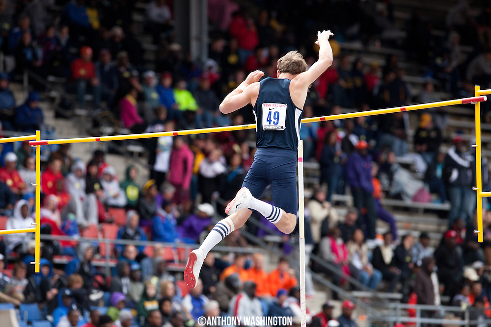 Paul Chandler of Yale University cleard the bar during the College Men's Pole Vault Eastern competition during the Penn Relays athletic meets on Friday, April 27, 2012 in Philadelphia, PA.