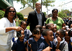May 19th, 2006. New Orleans, Louisiana. On the campaign trail.  After a brief visit to the Mercy Endeavors Senior Citizen Center in the Garden District, Mayor Ray Nagin stops to pose for photographs with school children before the run off elections tomorrow, Saturday May 20th.<br /> Photo; Charlie Varley/varleypix.com
