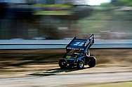 Brandon Spithaler races through a turn at Sharon Speedway in Hartford, Ohio during the fourth annual Lou Blaney Memorial race Tuesday, July 10, 2012.