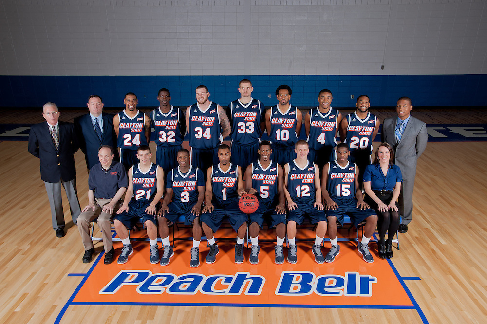 Nov. 9, 2012; Morrow, GA, USA; Portraits of basketball teams at Clayton State University. Gordon Gibbons, Brent Buchanan, Tony Campbell, Charles Shedrick, Tyler Davis, Andrew Bachanov, Tim Budd, Omari Murray, Juron Dobbs, Craig Wong, Tyler Jones, Sidarius Henry, Benard Nugent, Tony Dukes, Zach Riddle, Johnnie Coons, John Zubal, Laura Horsley. Photo by Kevin Liles / kdlphoto.com