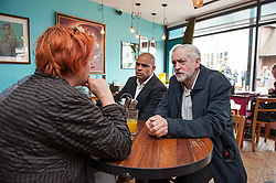 © Licensed to London News Pictures.01/04/2016. Bristol, UK. JEREMY CORBYN visits St Marks Road in Easton, Bristol, support Labour's candidate Marvin Rees (left in the picture from JC) in the Bristol Mayoral Election, and Labour candidates in the local elections.  Photo credit : Simon Chapman/LNP