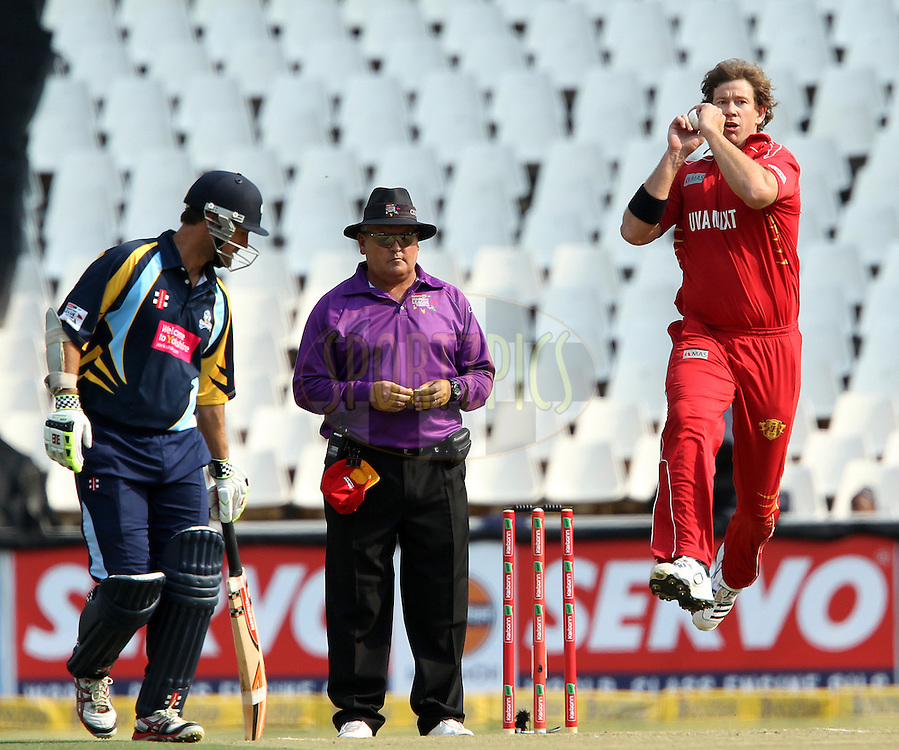 Jacob Oram bowls for Uva Next during 1st Qualifying match of the Karbonn Smart CLT20 South Africa between Uva Next and Yorkshire held at The Wanderers Stadium in Johannesburg, South Africa on the 9th October 2012..Photo by Ron Gaunt/SPORTZPICS/CLT20