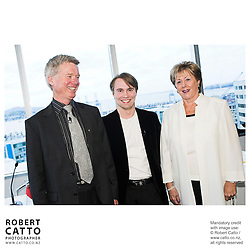 Peter Walls;Pietari Inkinen;Diana Fenwick at the Press conference announcing Pietari Inkinen as the NZSO's Music Director at Minter Ellison, The Lumley Centre, Auckland