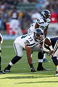 Seattle Seahawks offensive guard Oday Aboushi (73) gets set during the 2017 NFL week 1 preseason football game against the against the Los Angeles Chargers, Sunday, Aug. 13, 2017 in Carson, Calif. The Seahawks won the game 48-17. (©Paul Anthony Spinelli)