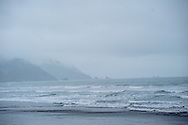 California, Crescent City, South Beach in fog and rain