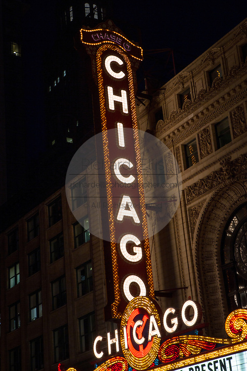 Neon sign at Chicago Theatre in Chicago USA