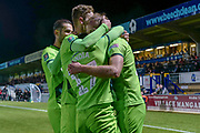 Norwich City forward Jordan Rhodes (11), on loan from Sheffield Wednesday, celebrates his third goal during the EFL Cup match between Wycombe Wanderers and Norwich City at Adams Park, High Wycombe, England on 25 September 2018.