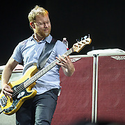 WASHINGTON, DC - July 4, 2015 - Nate Mendel of the Foo Fighters performs at the Foo Fighters 20th Anniversary Blowout at RFK Stadium in Washington, D.C. This was the band's first performance after Grohl broke his leg three weeks ago in Sweden. (Photo by Kyle Gustafson / For The Washington Post)