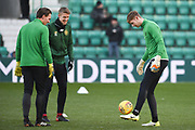 Celtic players warm up for the Ladbrokes Scottish Premiership match between Hibernian and Celtic at Easter Road, Edinburgh, Scotland on 10 December 2017. Photo by Kevin Murray.