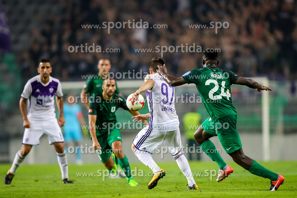 Martin Kramaric of NK Maribor and Mitch Apau of NK Olimpija Ljubljana during football match between NK Olimpija Ljubljana and NK Maribor in 7th Round of Prva liga Telekom Slovenije 2017/18, on August 27, 2017 in SRC Stozice, Ljubljana, Slovenia. Photo by Matic Klansek Velej / Sportida