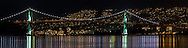 Panorama of the Lions Gate Bridge from Stanley Park. Photographed from Brocton Point in Stanley Park, Vancouver, British Columbia, Canada.